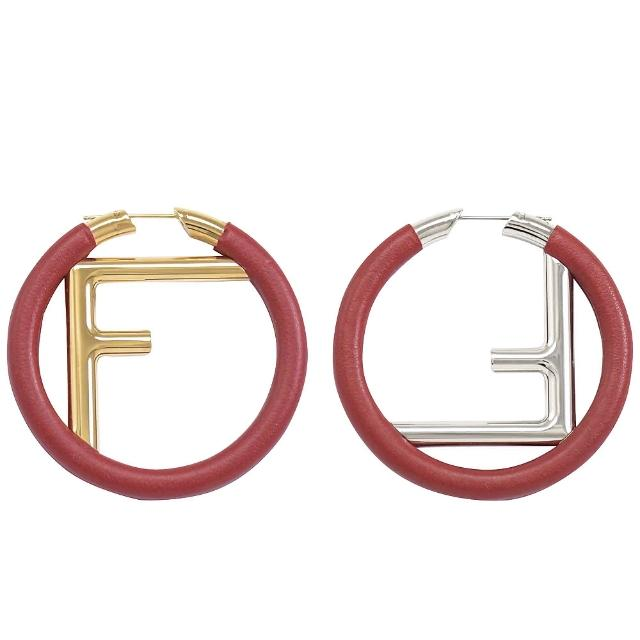 【FENDI 芬迪】金銀雙色字母F LOGO個性耳環(紅)