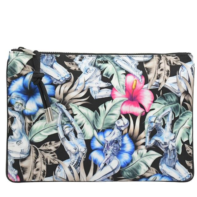 【Dior 迪奧】花卉女性圖案信用卡萬用夾手拿包(黑白 大)