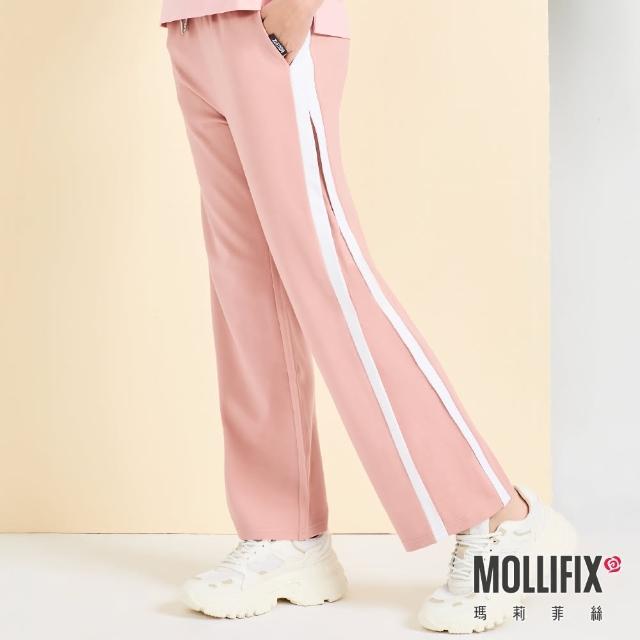 【Mollifix 瑪莉菲絲】側條修身拼接休閒寬褲(粉)