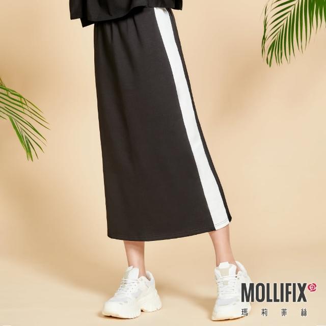 【Mollifix 瑪莉菲絲】側拼色後開岔修身長裙(黑+白)