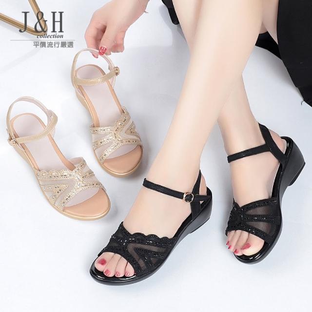 【J&H collection】坡跟時裝舒適一字扣涼鞋(現+預 黑色 / 金色)
