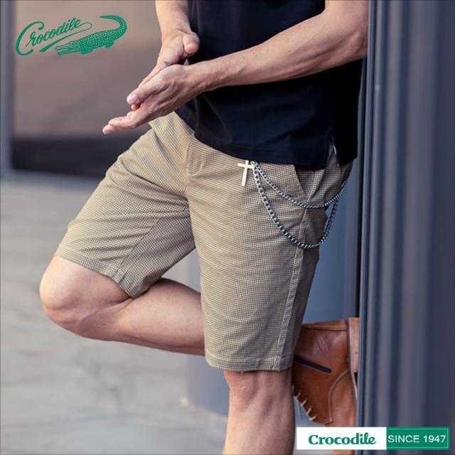 【Crocodile】男時尚印花休閒棉質短褲(淺棕色)