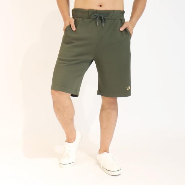 【Lee】薄款舒適 男運動針織休閒短褲-橄欖綠