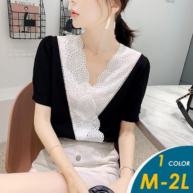 【CHACO】/現+預購/ 韓系配色蕾絲V領短袖黑色雪紡上衣#1052(偏小版)