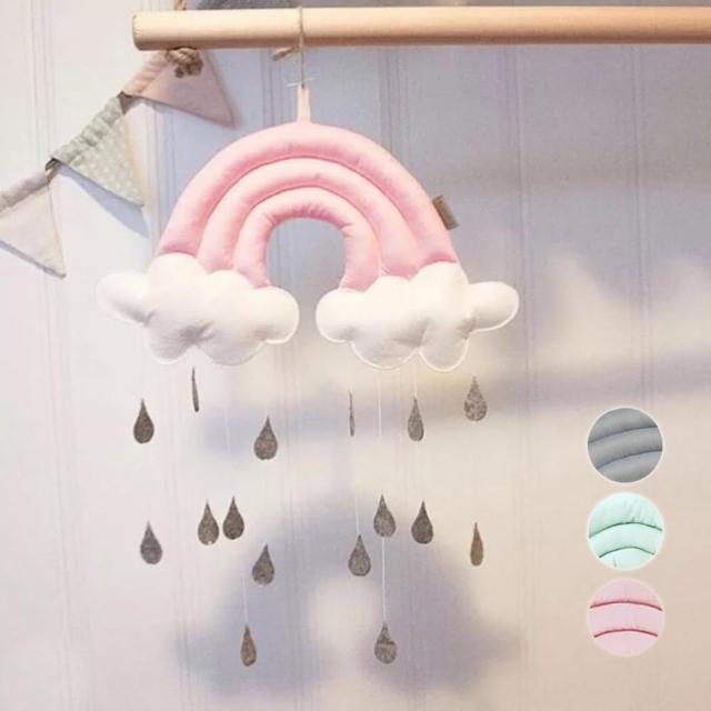 【橘魔法】立體彩虹雲朵水滴掛飾(帳篷 吊飾 壁飾 居家裝飾 兒童房 新生兒 嬰兒房 拍照道具 攝影)