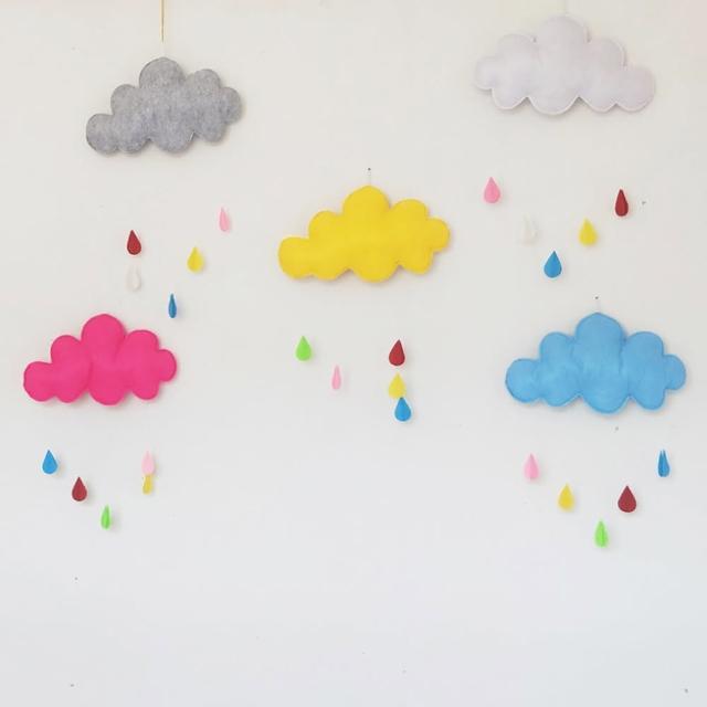 【橘魔法】雲朵雨滴不織布掛飾(帳篷吊飾 裝飾 居家裝飾 兒童房 新生兒 禮物 嬰兒房 拍照道具 攝影)