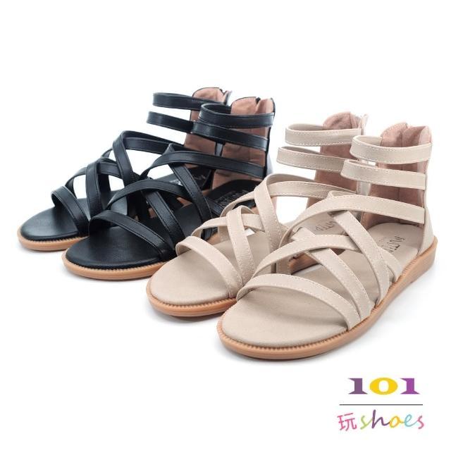 【101 玩Shoes】mit. 大尺碼微寬版帶繞踝平底羅馬涼鞋(米色/黑色.41-44碼)