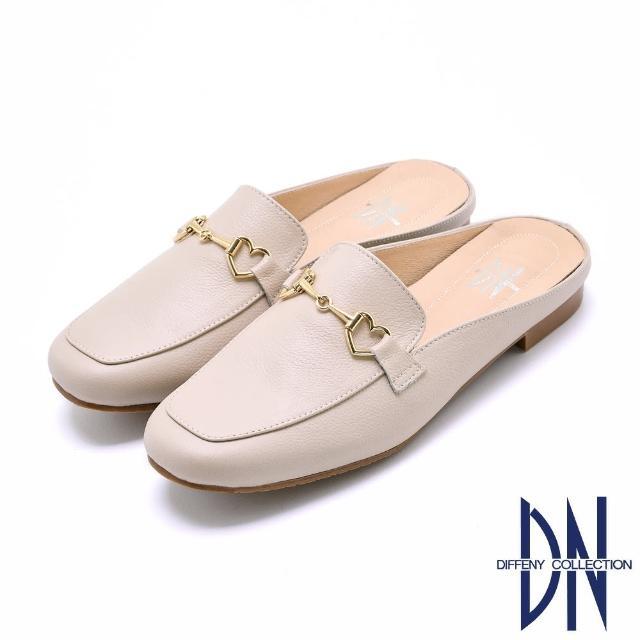 【DN】穆勒鞋_MIT舒適金屬愛心拼接平底穆勒鞋(米)