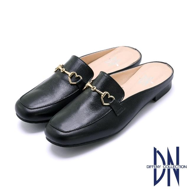 【DN】穆勒鞋_MIT舒適金屬愛心拼接平底穆勒鞋(黑)