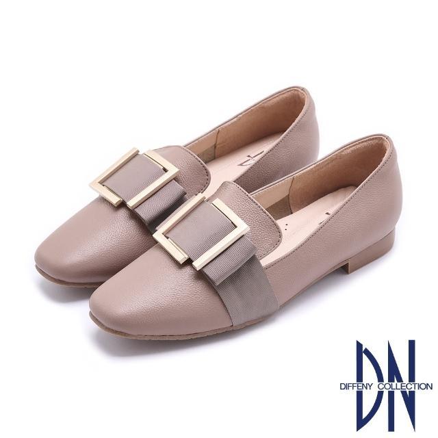 【DN】樂福鞋_MIT牛皮拼接方釦緞面蝴蝶結平底鞋(芋紫)