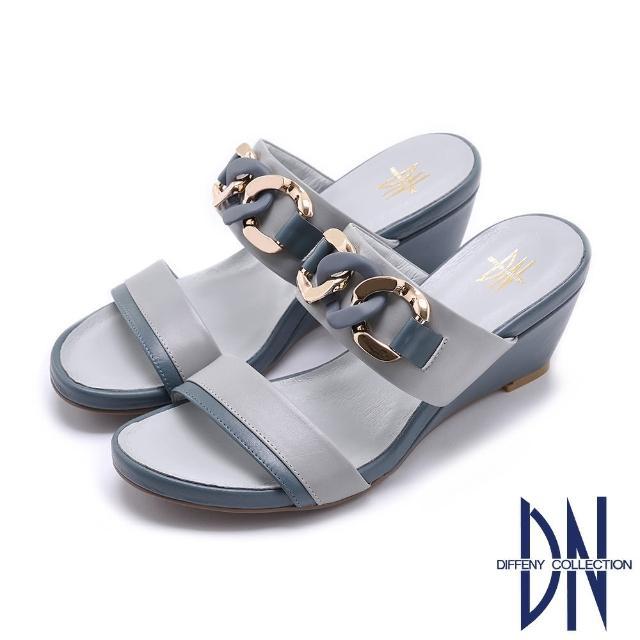 【DN】拖鞋_MIT法式雙色環鏈烤漆飾釦楔型涼拖鞋(灰藍)