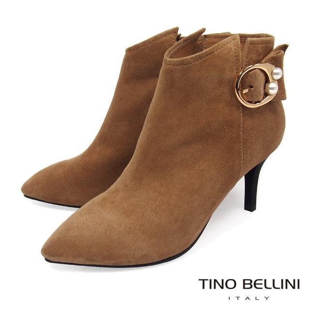 【TINO BELLINI 貝里尼】冬日嬌點珍珠飾釦高跟短靴VI8560(駝)