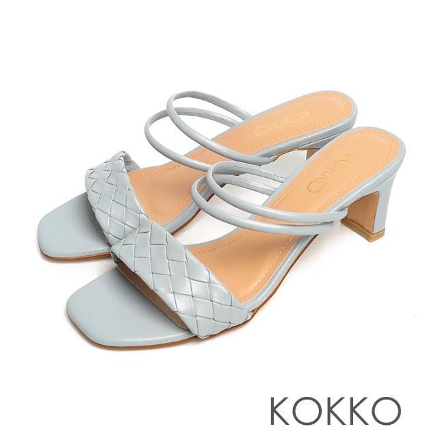 【KOKKO 集團】時髦方頭編織小牛皮2WAY扁跟涼拖鞋(灰藍色)