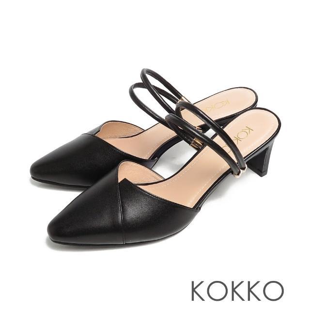 【KOKKO 集團】經典尖頭2way不對稱剪裁穆勒扁跟鞋(霧黑色)