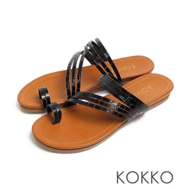 【KOKKO 集團】率性螺旋細帶牛皮平底夾腳拖鞋(鱷魚壓紋黑)