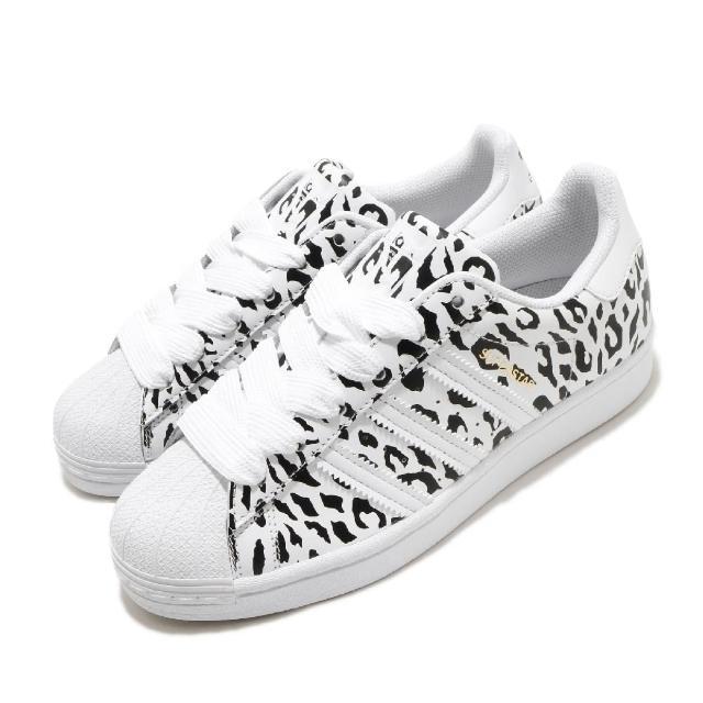 【adidas 愛迪達】休閒鞋 Superstar W 復古 低筒 女鞋 愛迪達 三葉草 豹紋 貝殼頭 白 黑(FV3451)