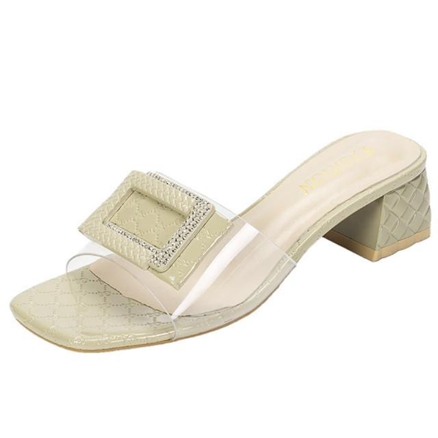 【Taroko】透明方框編織鞋底外穿拖鞋(2色可選)