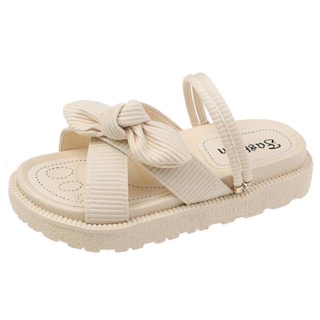 【Taroko】條紋蝴蝶結絨布3穿涼拖鞋(3色可選)