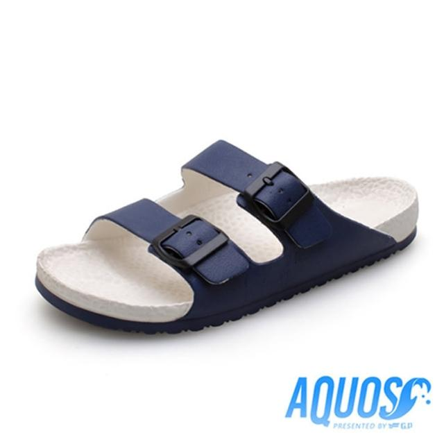 【G.P】男 AQUOS雙色雙帶柏肯防水拖鞋 男鞋(白藍)