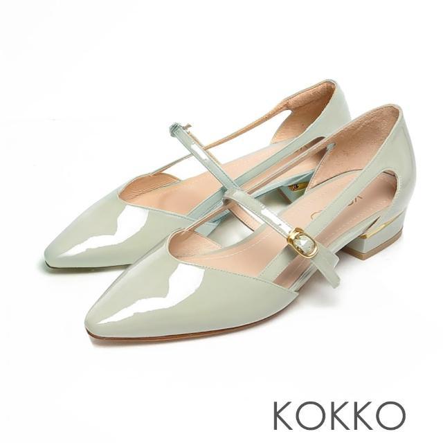【KOKKO 集團】尖頭牛漆皮挖空繫帶瑪莉珍粗跟鞋(薄荷綠)