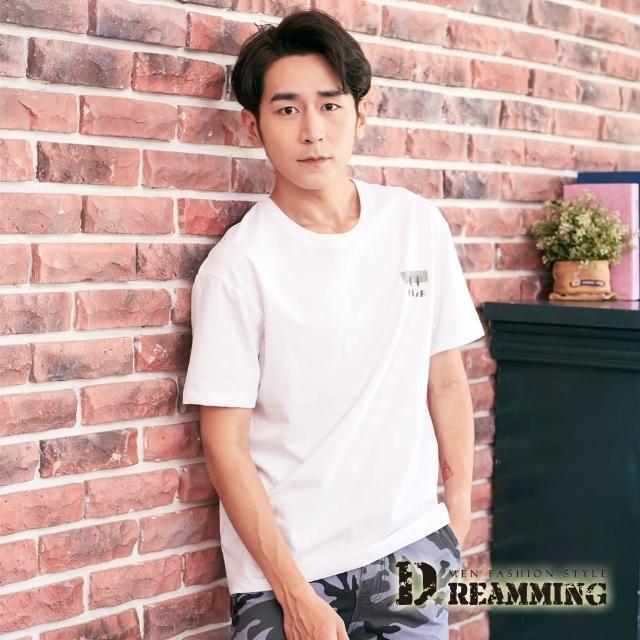 【Dreamming】POP刺繡印花棉質彈力圓領短T 親膚 透氣(共二色)