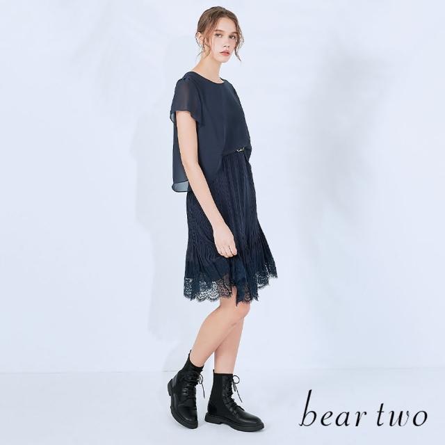 【bear two】仿兩件式蕾絲拼接洋裝(兩色)