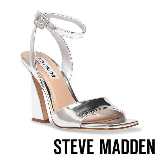 【STEVE MADDEN】LAKELYN 皮扣繞踝粗跟涼鞋(銀色)