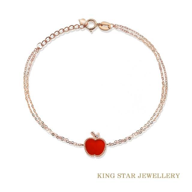 【King Star】瑪瑙18K玫瑰金蘋果鑽石手鍊(使用硬金電鑄工藝)