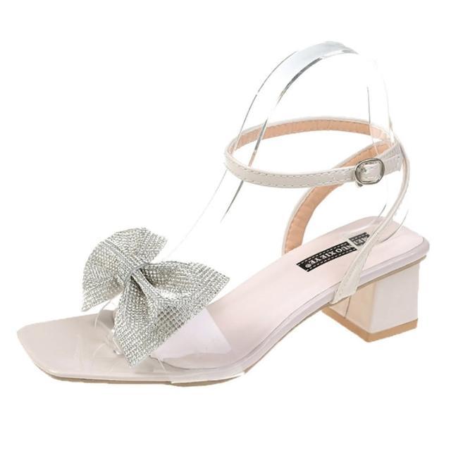【Taroko】水鑽蝴蝶結一字帶方頭粗跟涼鞋(2色可選)