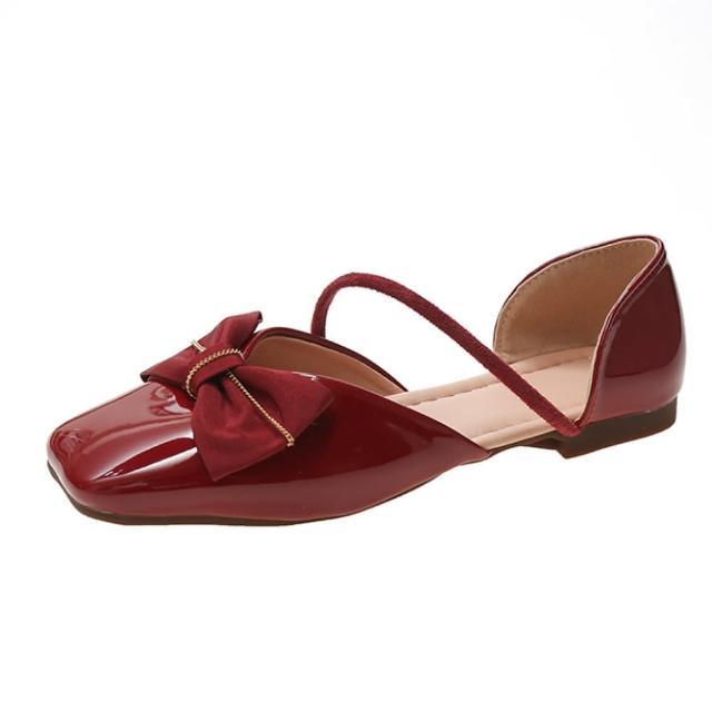 【Taroko】焦點曲線蝴蝶結方頭中空涼鞋(3色可選)