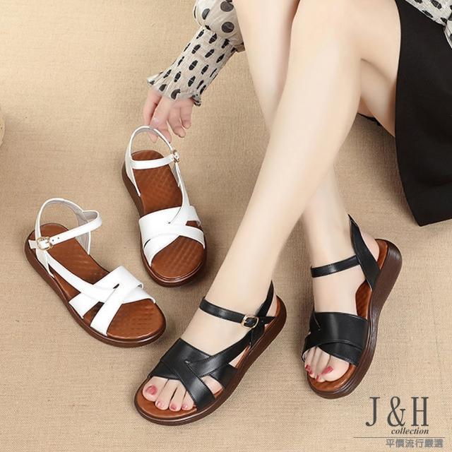 【J&H collection】經典便捷真皮厚底羅馬涼鞋(現+預 白色 / 黑色)
