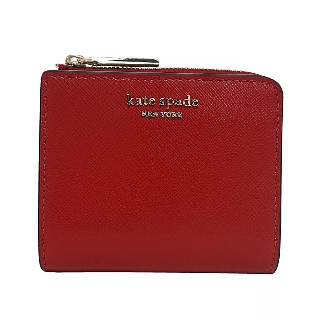 【KATE SPADE】Kate Spade Spencer金屬LOGO牛皮6卡扣式短夾(辣椒紅)