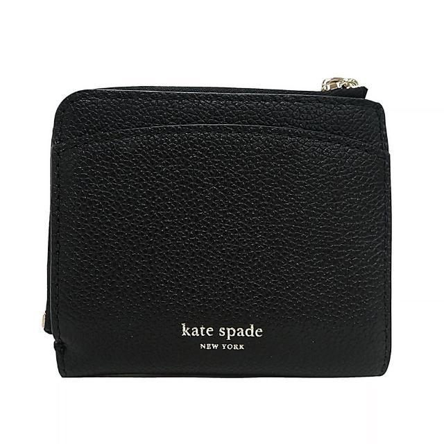 【KATE SPADE】Kate Spade Marguaux 燙金LOGO桃心設計牛皮6卡釦式對折短夾(黑)