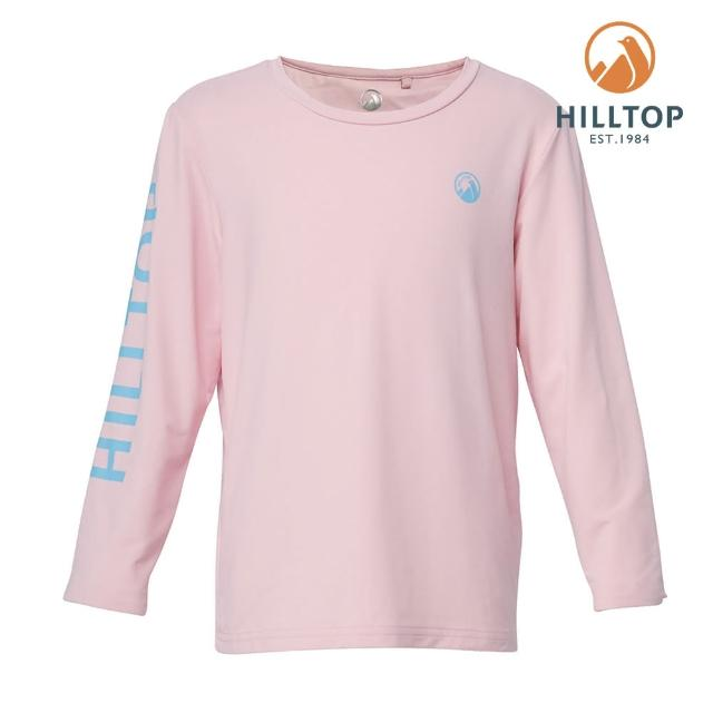 【Hilltop 山頂鳥】童款Polygiene抗菌吸濕快乾LOGO印花長袖T恤(S15C01粉)