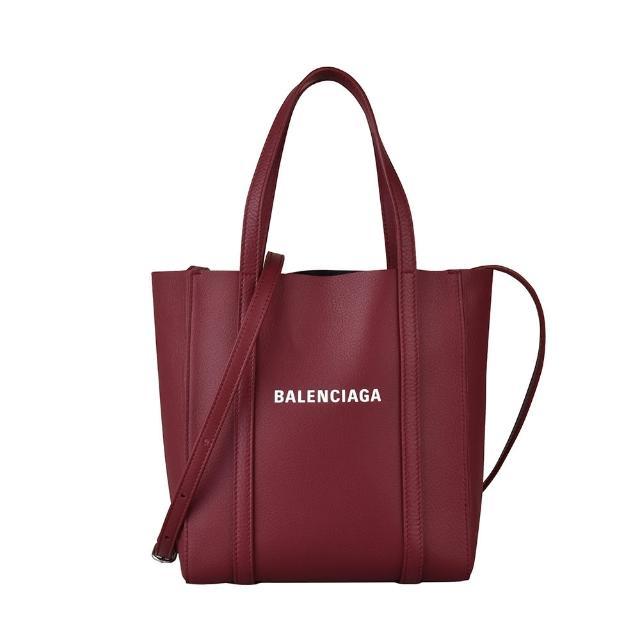 【Balenciaga 巴黎世家】BALENCIAGA EVERYDAY XXS白字LOGO小牛皮直立式手提斜背包(酒紅)