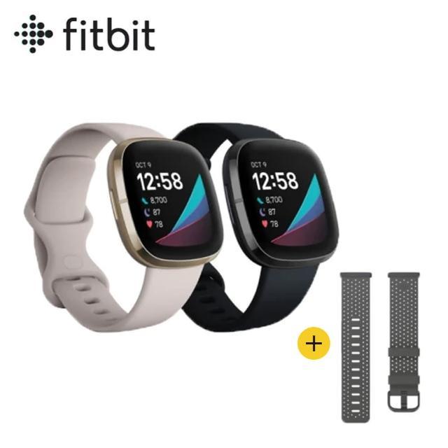 超值組【Fitbit】Sence 進階健康智慧手錶(睡眠血氧監測)+皮革錶帶(灰黑色S)