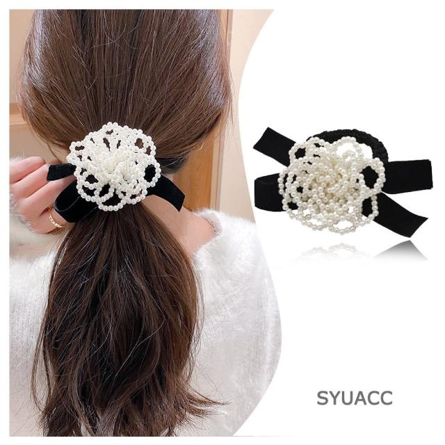 【HaNA 梨花】韓國串珍珠花卉.黑絲絨蝴蝶結髮圈