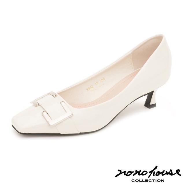 【nono house】金屬方釦鏡面微方跟鞋(米)