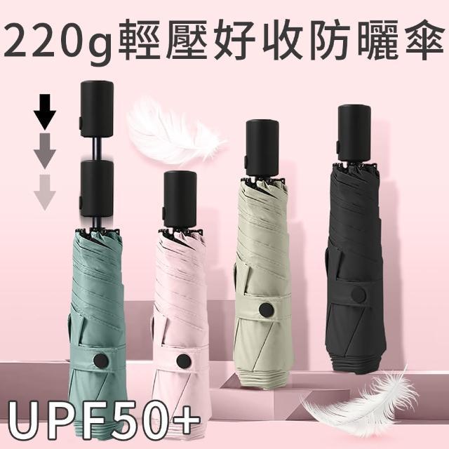 【Luxing】220g極輕省力安全自動傘 UPF50+黑膠防曬羽毛陽傘 雨傘 折疊傘晴雨傘口袋傘 迷你小傘輕量傘