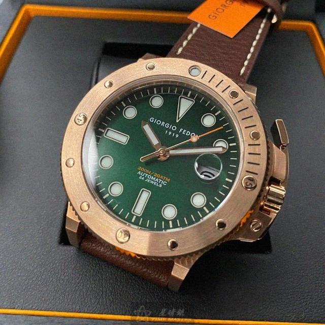 【GIORGIO FEDON 1919】喬治飛登1919男錶型號GF00017(墨綠色錶面玫瑰金錶殼咖啡色真皮皮革錶帶款)
