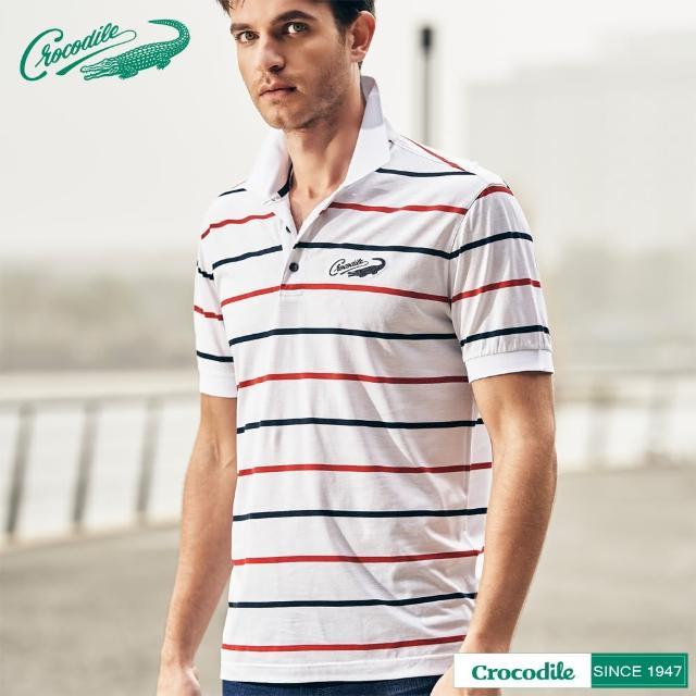 【Crocodile】男天絲棉時尚經典條紋POLO衫(白色)