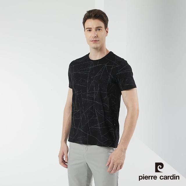 【pierre cardin 皮爾卡登】男裝 幾何印花短袖圓領衫-黑色(5217284-99)