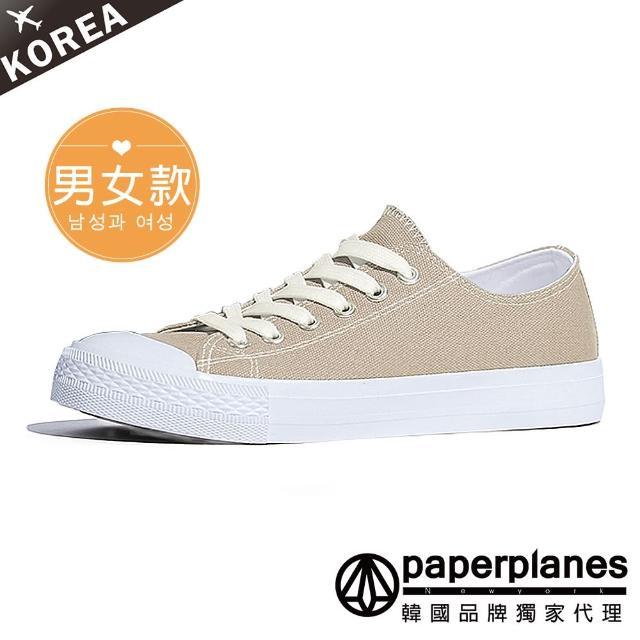 【Paperplanes】韓國空運/正常版型。男女款純棉拼接奶油頭情侶綁帶帆布休閒鞋(7-152米/現+預)