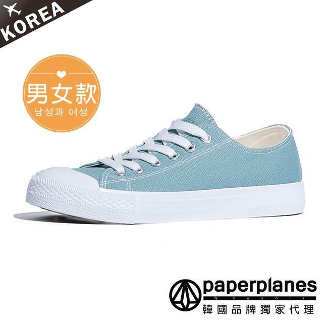 【Paperplanes】韓國空運/正常版型。男女款純棉拼接奶油頭情侶綁帶帆布休閒鞋(7-152淺藍/現+預)