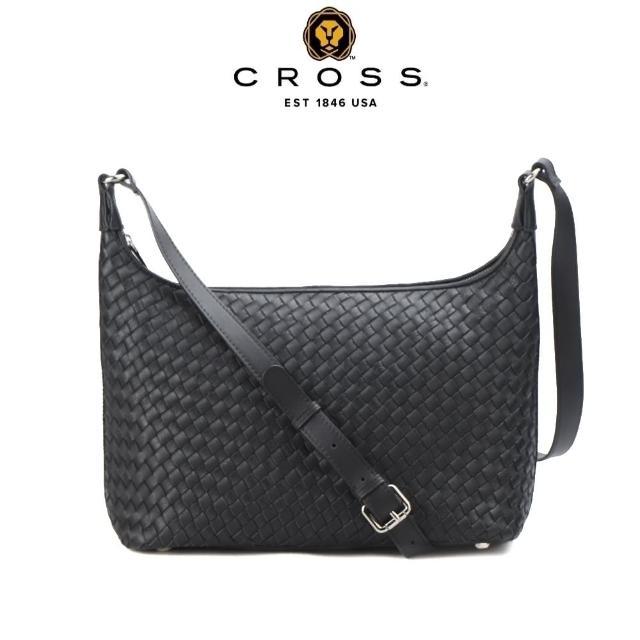【CROSS】頂級小牛皮手工編織斜背包 肩背包(黑色)
