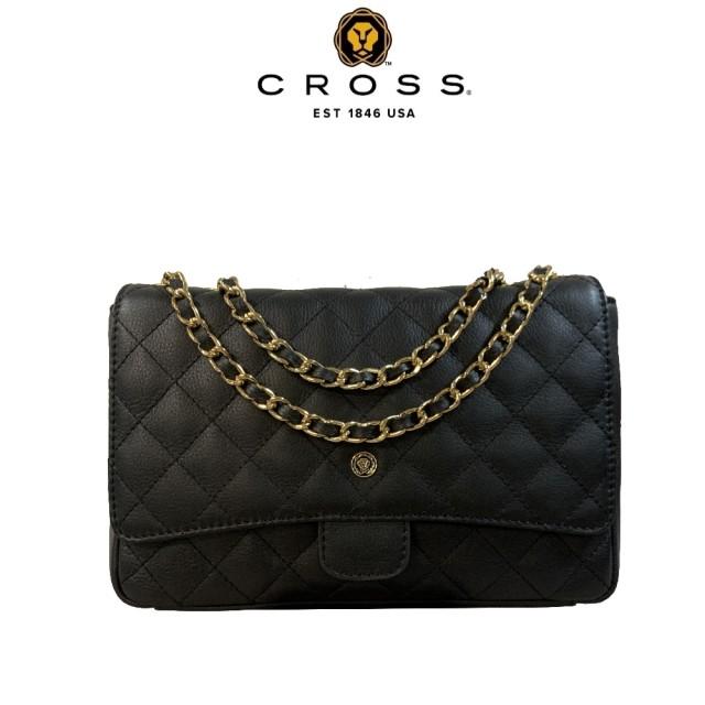 【CROSS】頂級小牛皮菱格紋金鍊手提肩背包(黑色)