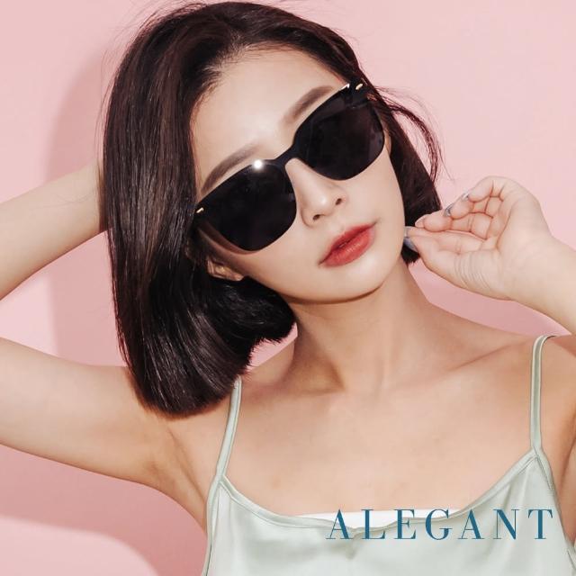 【ALEGANT】魔笛的奏鳴序曲(輕奢木槿黑鑲嵌茶晶柱槍灰金屬方框偏光墨鏡/UV400太陽眼鏡)
