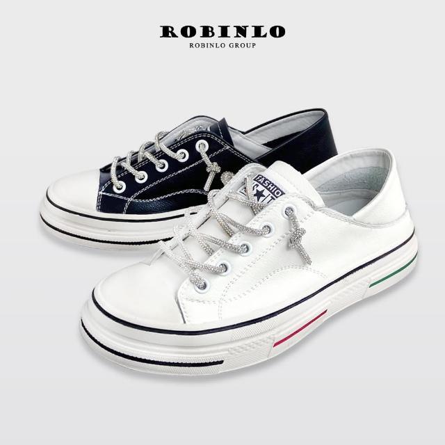 【Robinlo】奢華款水鑽真皮可後踩厚底休閒鞋小白鞋ARTIE(白/黑)