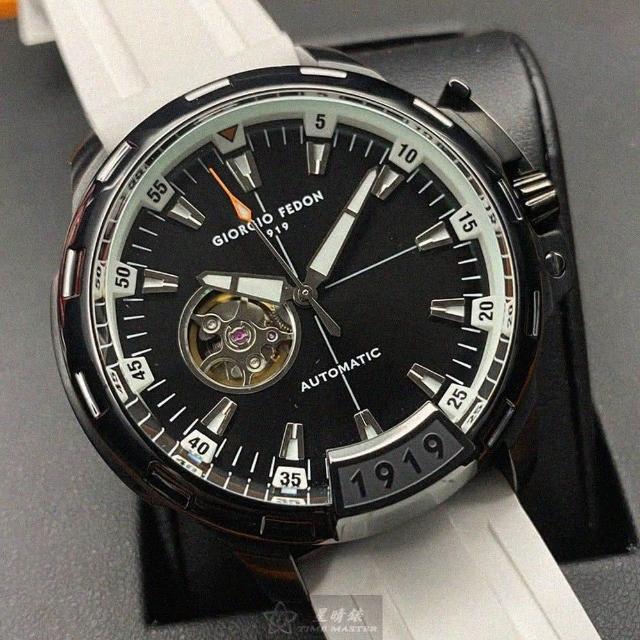 【GIORGIO FEDON 1919】喬治飛登1919男錶型號GF00021(黑色錶面黑錶殼白矽膠錶帶款)