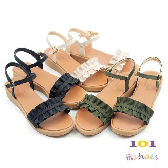 【101 玩Shoes】mit.優雅甜心荷葉邊厚底坡跟涼鞋(黑/米/綠.36-40碼)